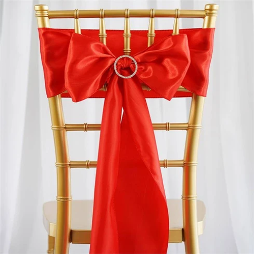 "(5) 6""x106""  Red Satin Chair Sash- In House Rental"