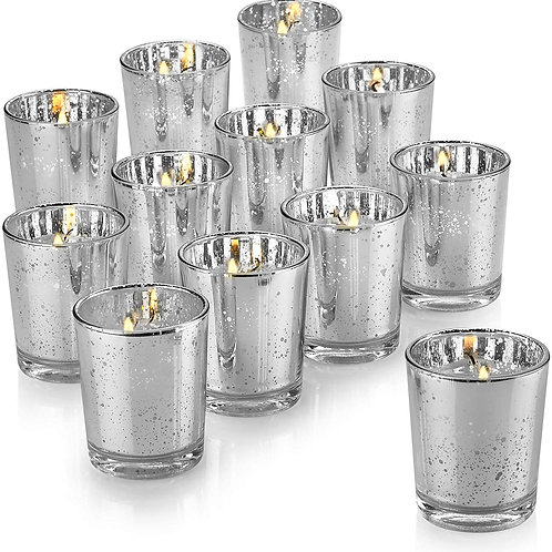 12 - Small Candle holders - Silver - In House Rental
