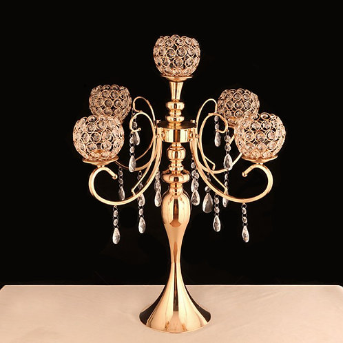 5 Arms Gold Crystal Tall Candelabras  - In House Rental