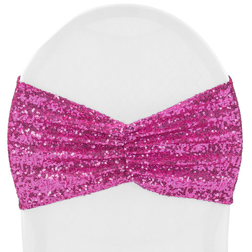 Glitz Ruffle Sequin Spandex Chair Band Sash Fuchsia - In House Rental