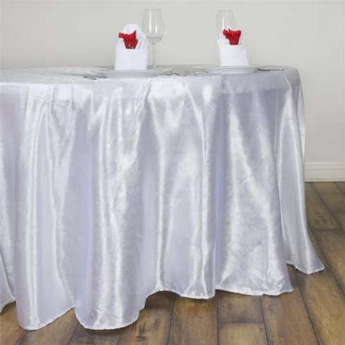 "120""  White Satin  Round Tablecloth - In House Rental"
