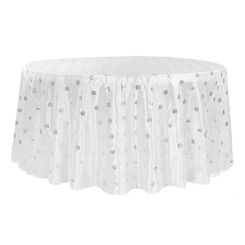"""Sequin Embroidery Taffeta 132"""" Round Tablecloth - White- In House Rental"""