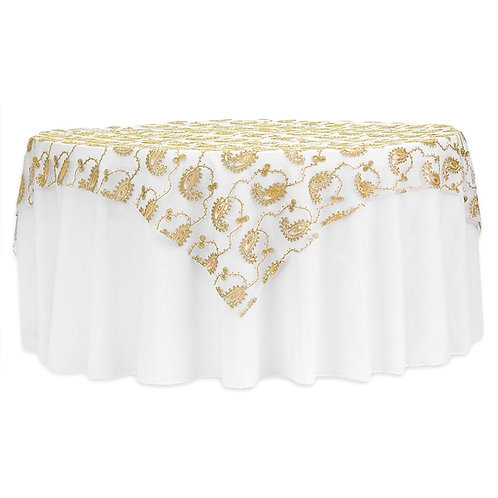 "Paisley Sequin Table Overlay Topper 85""x 85"" Square - Gold- In House R"