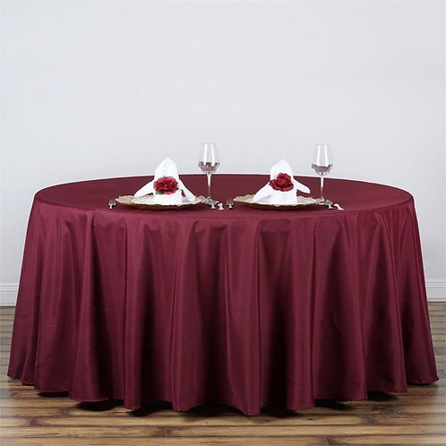 "120"" Burgundy Polyester Round Tablecloth- In House Rental"