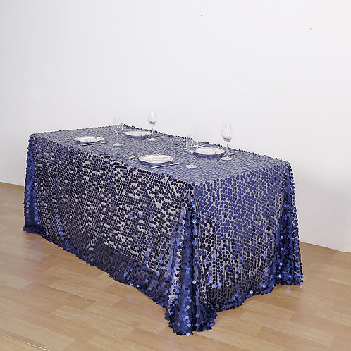 "90X132"" Navy Blue Big Payette Sequin Rectangle Tablecloth- In House R"