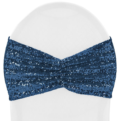 Glitz Ruffle Sequin Spandex Chair Band Sash Navy Blue - In House Rental