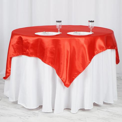 "60""x 60"" Red Seamless Satin Square Tablecloth Overlay  - In House Rental"