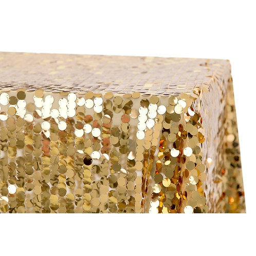 "Large Payette Sequin Tablecloth 90""x156"" Rectangular - Gold- In House R"