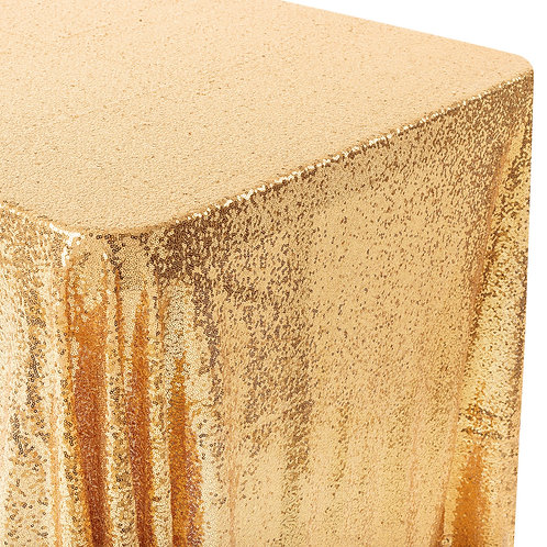"Glitz Sequin Mesh Net Tablecloth 90""x156"" Rectangular - Gold -- In House R"