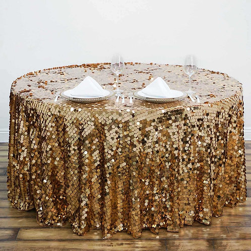 """120"""" Big Payette Gold Sequin Round Tablecloth  - In House Rental"""