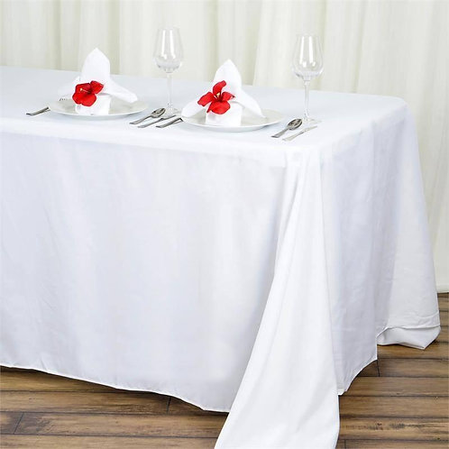 "90x132"" White Polyester Rectangular Tablecloth- In House Rental"