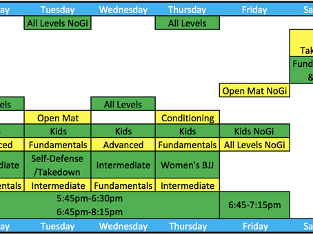 Busy BJJ will have a new schedule and it looks great!!!