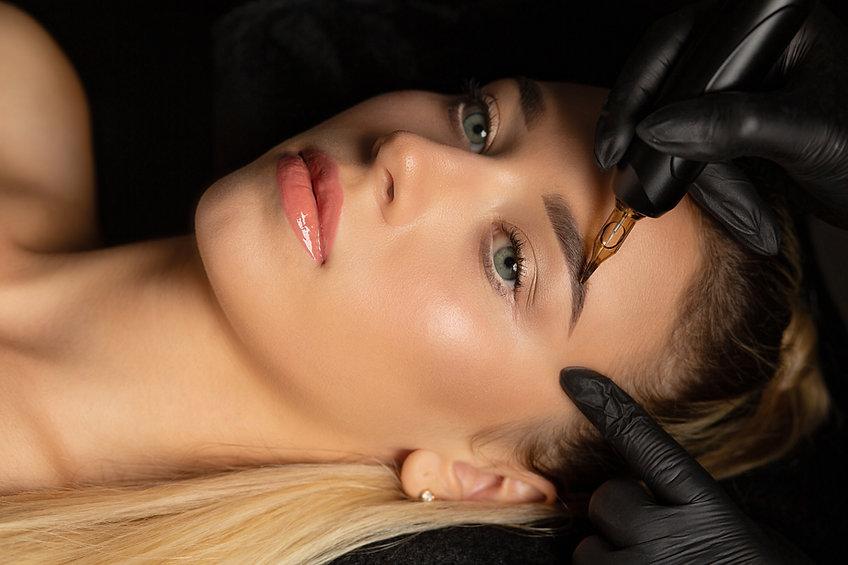 Closeup shot of woman in gloves making p