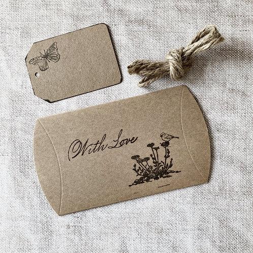 Handprinted Giftbox, Gift Tag & Jute
