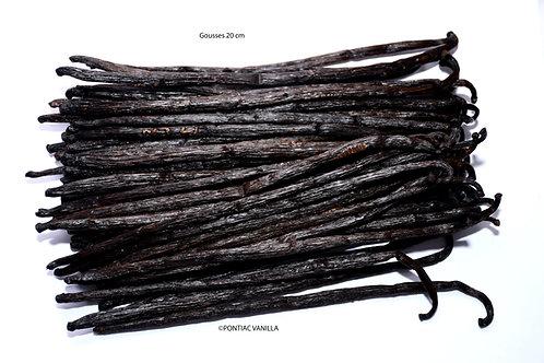 2 gousses Vanille Bourbon noire gourmet de Madagascar 20cm