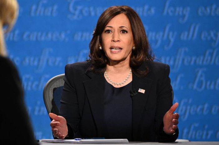 Democratic Vice Presidential candidate, Kamala Harris at the October 7, 2020 debate against Vice President Mike Pence.