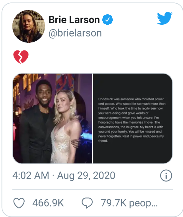 Brie Larson Chadwick Tweet
