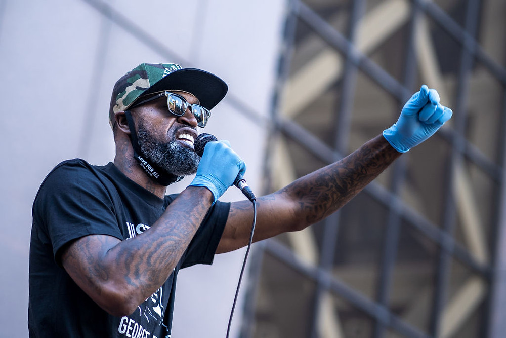 NBA Player Stephen Jackson at protests | Getty Images