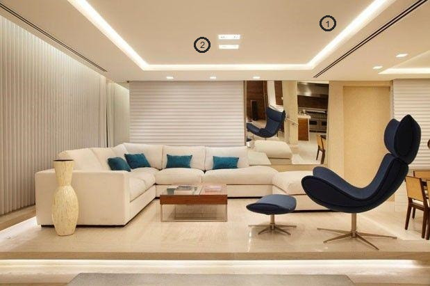 projeto de iluminação de sala de estar: led e spots
