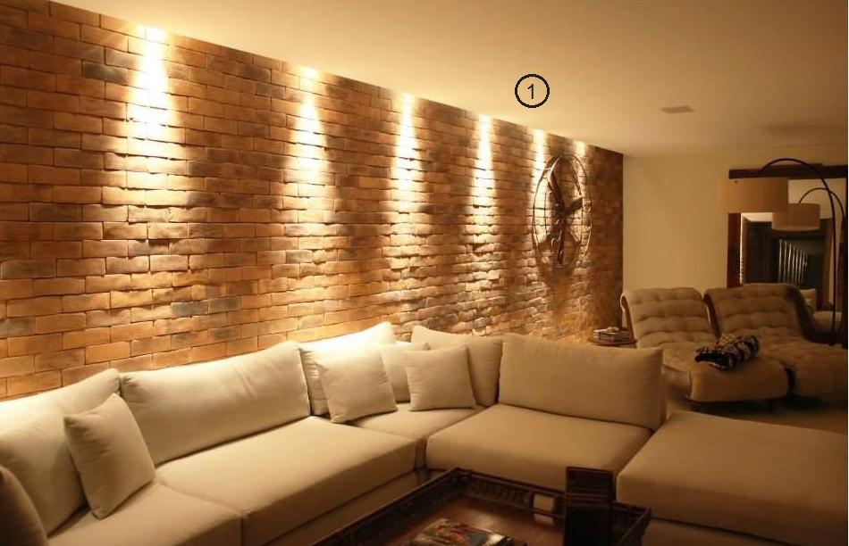 projeto de iluminação de sala de estar: spot na parede