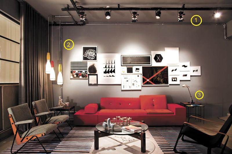projeto de iluminação de sala de estar: spot de trilho