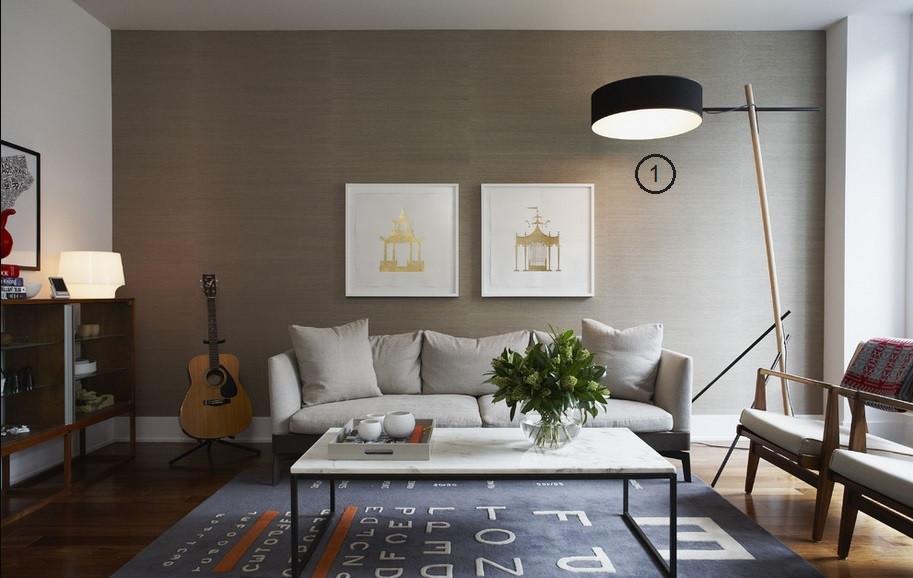 projeto de iluminação de sala de estar: luminária de piso