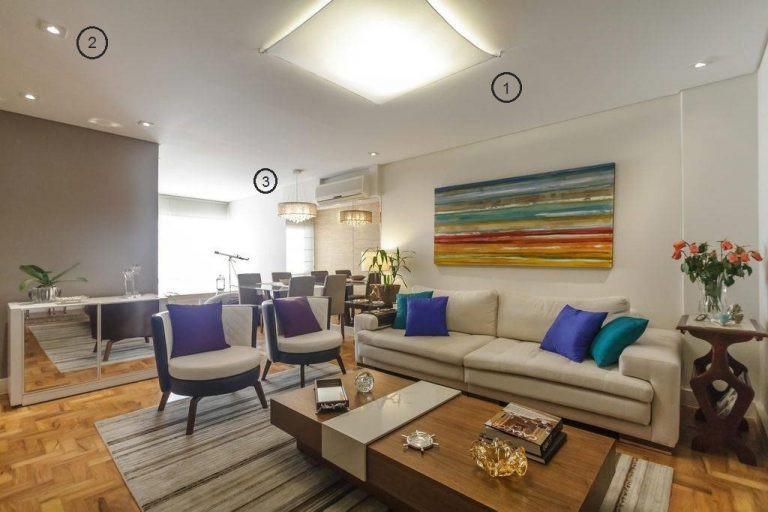 projeto de iluminação de sala de estar: sala branca com plafon