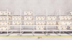 3 estantes con cajas_3 - Foto