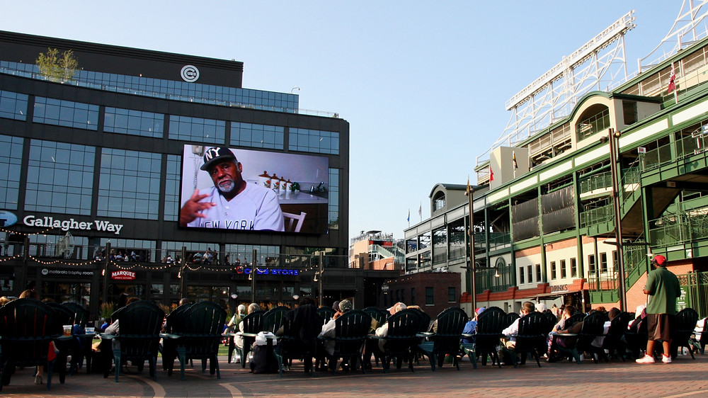 The Other Boys of Summer projected outside Wrigley Field