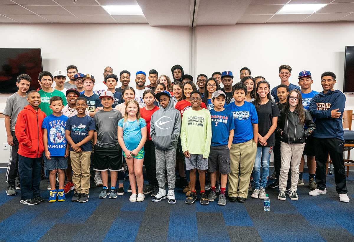 Some of the kids at the Texas Rangers Youth Academy program.