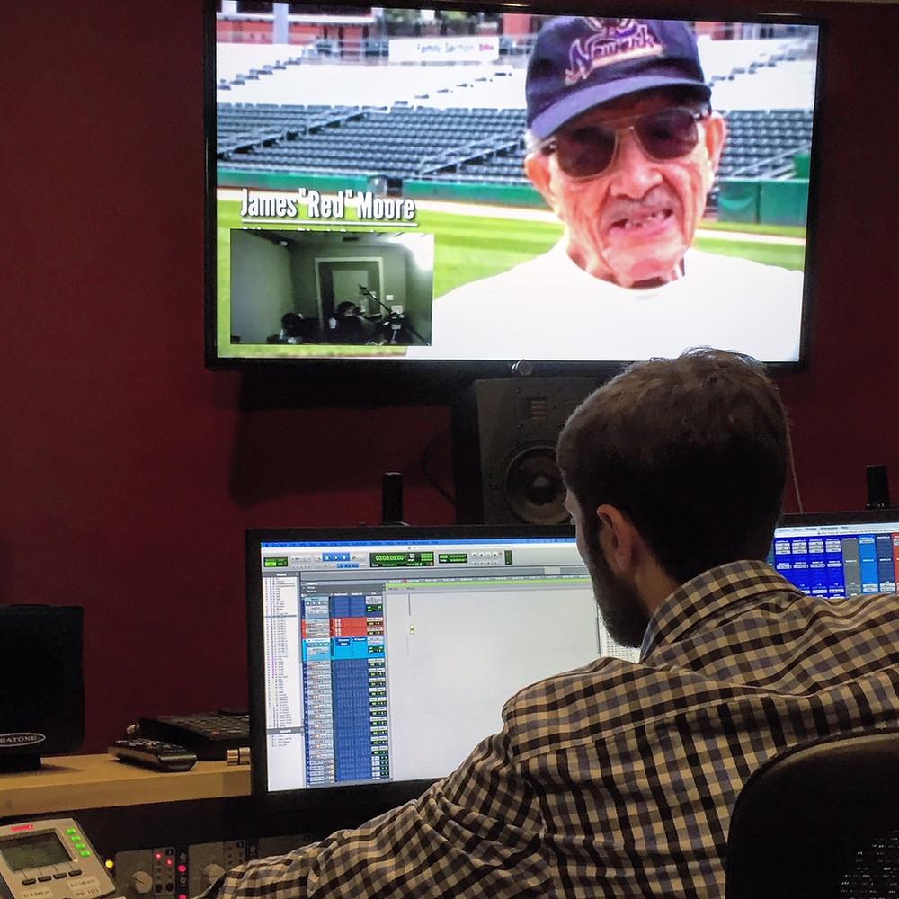 Behind the scenes in the audio studio