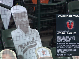 MLB salutes the Centennial of the Negro Leagues. Lauren Meyer visits the broadcast booth.