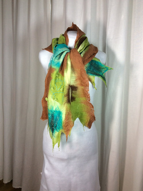 Hand felted wool scarf