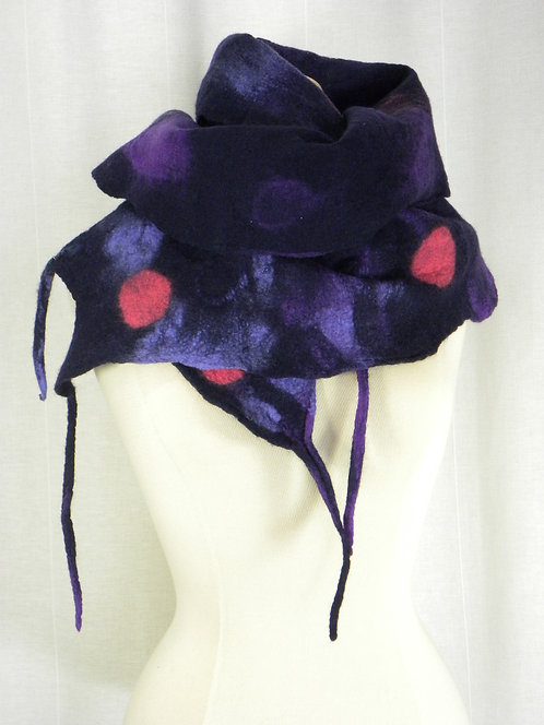 Hand felted navy, purlple and pink scarf