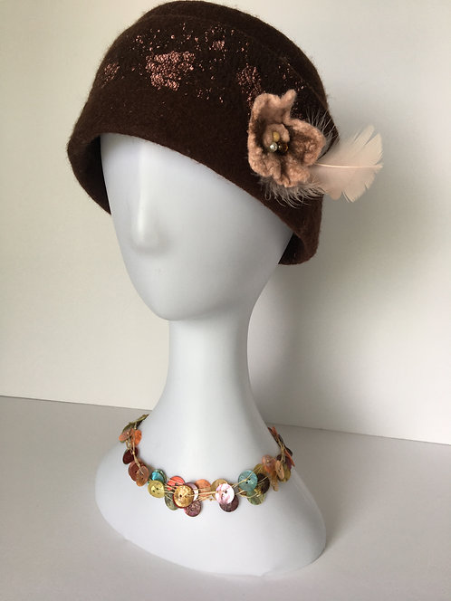 Hand felted brown and soft pink hat