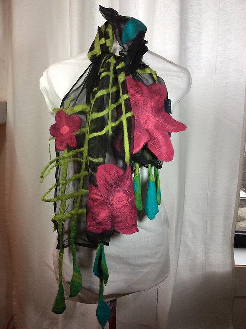 Hand felted scarf on silk