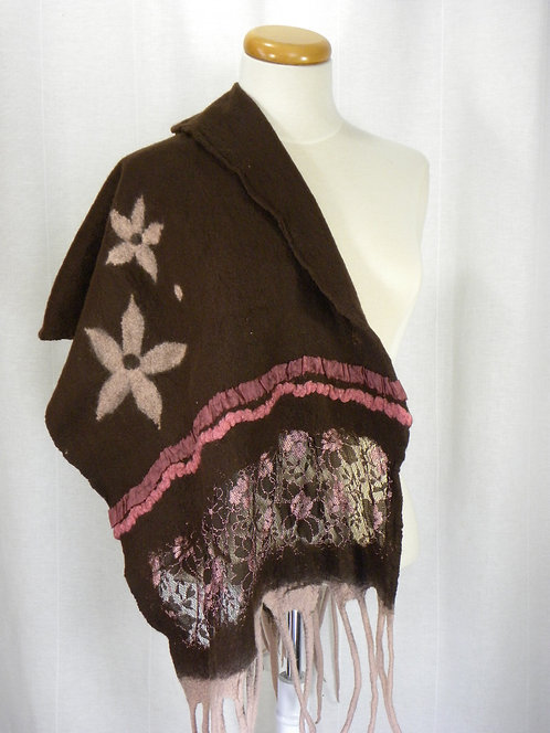 Hand felted brown and soft pink scarf