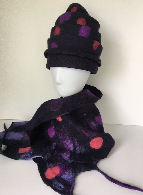 Hand felted navy, purple, pink matching hat
