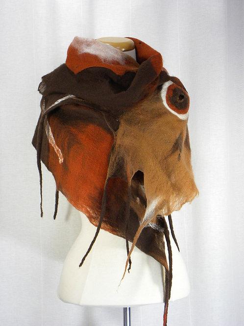 Wet felted Merino wool scarf