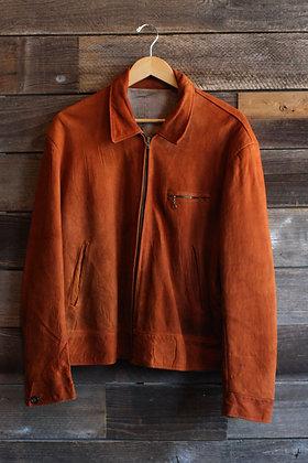 '50s Chestnut Suede Zip Jacket   Men's L/XL