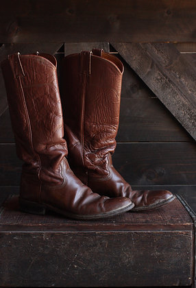 Vintage Nocona Tall Chestnut Cowgirl Boots - 8 1/2