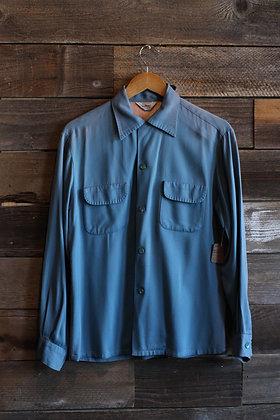 '50s Blue Sunfaded Penneys Gabardine Loop Collar Shirt   Men's M
