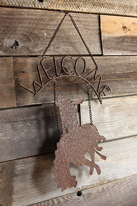 Wrought Iron Bronco Welcome Sign