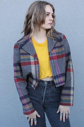 '70s Plaid Cropped Wool Blazer | Women's Small/Medium