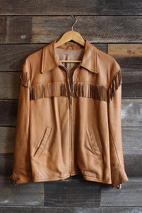 '50s Buckskin Fringe Zip Jacket - Men's Large