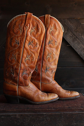 '70s Acme Tall Inlay Cowgirl Boots - 7.5B