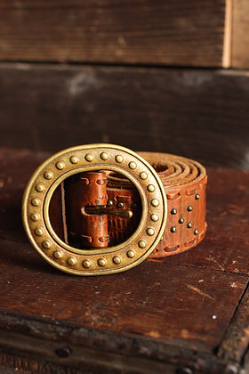 """Studded Leather Solid Brass Buckle Belt - 31""""-35"""""""