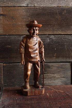 Hand-Carved Wooden Carpenter Figurine