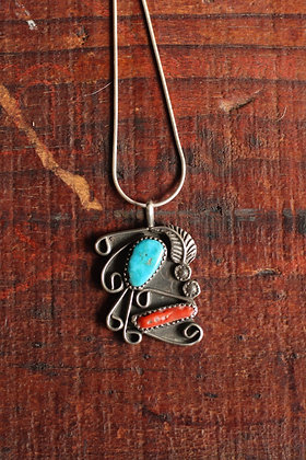 Native Coral & Turquoise Leaf Pendant Necklace