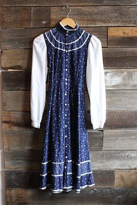 '70s Gunne Sax Navy Floral Prairie Dress   S